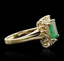 14KT Yellow Gold 1.94ct Emerald and Diamond Ring