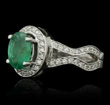 14KT White Gold 1.16ct Emerald and Diamond Ring