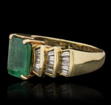 14KT Yellow Gold 3.26ct Emerald and Diamond Ring