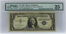 1957 $1 Mismatched Prefix Error Silver Certificate PMG Very Fine 25