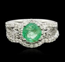 14KT White Gold 1.43ct Emerald and Diamond Wedding Ring Set