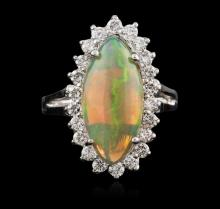 14KT White Gold 2.61ct Opal and Diamond Ring