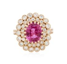 14KT Rose Gold 2.87ct Pink Sapphire and Diamond Ring