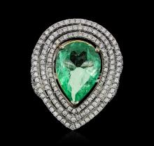 14KT White Gold GIA Certified 5.65ct Emerald and Diamond Ring