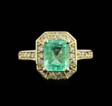 2.30ct Emerald and Diamond Ring - 14KT Yellow Gold