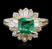 14KT Yellow Gold 1.18ct Emerald and Diamond Ring