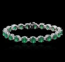 14KT White Gold 15.83ctw Emerald and Diamond Bracelet