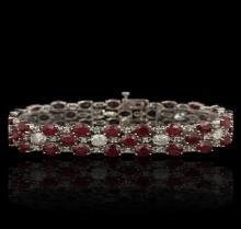 14KT White Gold 27.36ctw Ruby and Diamond Bracelet