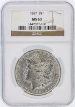 1887 NGC MS63 Morgan Silver Dollar
