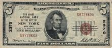 $5 1929 New York National Currency Bank Note Bill