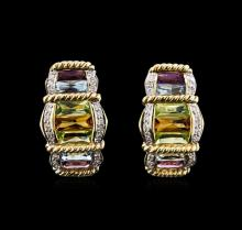 4.21ctw Multi Gemstone and Diamond Earrings - 14KT Yellow Gold