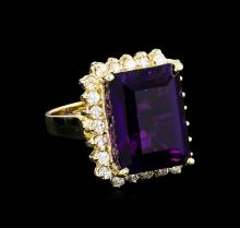 13.15ct Amethyst and Diamond Ring - 14KT Yellow Gold