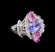 4.36ctw Multi Gemstone and Diamond Ring - 14KT White Gold