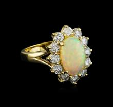 2.56ct Opal and Diamond Ring - 14KT Yellow Gold