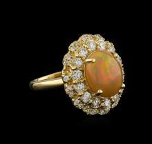 2.75ct Opal and Diamond Ring - 14KT Yellow Gold