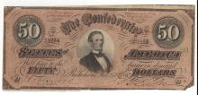 1864 $50 Confederate States of America Bank Note