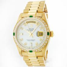 Rolex President 18KT Gold 1.00ctw Diamond And Emerald Men's Watch