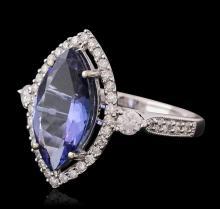 14KT White Gold 3.02ct Tanzanite and Diamond Ring