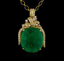 14KT Yellow Gold GIA Certified 50.88ct Emerald and Diamond Pendant With Chain
