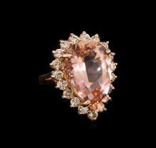 13.54ct Morganite and Diamond Ring - 14KT Rose Gold