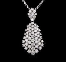 14KT White Gold 6.92ctw Diamond Pendant with Chain