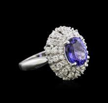 2.86ct Tanzanite and Diamond Ring - 14KT White Gold