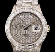 Rolex 18KT White Gold Super President 7.30ctw Diamond DayDate Men's Watch