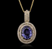 14KT Yellow Gold 4.20ct Tanzanite and Diamond Pendant With Chain