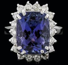 14KT White Gold 8.25ct Tanzanite and Diamond Ring
