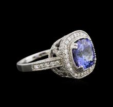 4.26ct Tanzanite and Diamond Ring - 14KT White Gold