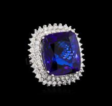 14KT White Gold GIA Certified 43.23ct Tanzanite and Diamond Ring