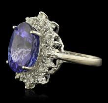 14KT White Gold 11.08ct GIA Certified Tanzanite and Diamond Ring