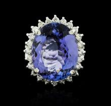 14KT White Gold 12.19ct Tanzanite and Diamond Ring