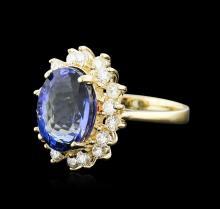14KT Yellow Gold 5.44ct Tanzanite and Diamond Ring