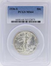 1936-S PCGS MS64 Liberty Walking Half Dollar Coin