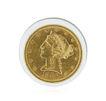 1886-S $5 CU Liberty Head Half Eagle Gold Coin