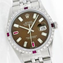 Rolex Stainless Steel Baguette and Ruby DateJust Men's Watch