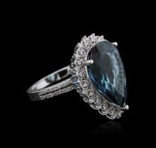 14KT White Gold 13.10ct Topaz and Diamond Ring