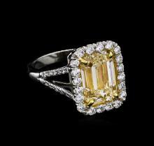 EGL USA Cert 5.84ctw Fancy Yellow Diamond Ring - 18KT-Platinum Two-Tone Gold
