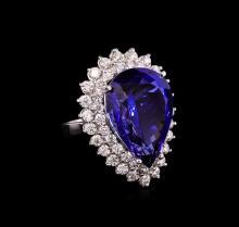 14KT White Gold GIA Certified 24.90ct Tanzanite and Diamond Ring