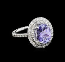 3.56ct Tanzanite and Diamond Ring - 14KT White Gold