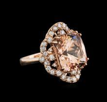 10.80ct Morganite and Diamond Ring - 14KT Rose Gold