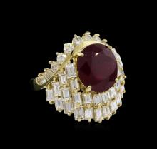 14KT Yellow Gold 6.78ct Ruby and Diamond Ring