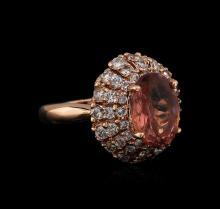 3.70ct Tourmaline and Diamond Ring - 14KT Rose Gold