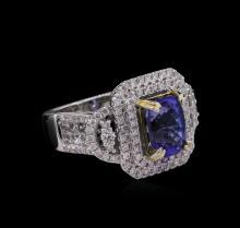 14KT Two-Tone 2.79ct Tanzanite and Diamond Ring