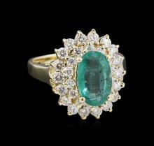 1.87ct Emerald and Diamond Ring - 14KT Yellow Gold