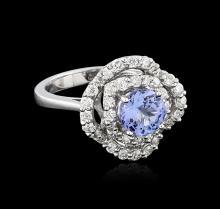 14KT White Gold 1.40ct Tanzanite and Diamond Ring
