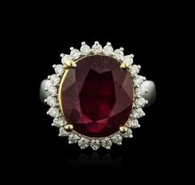 14KT Two-Tone Gold 8.30ct Ruby and Diamond Ring