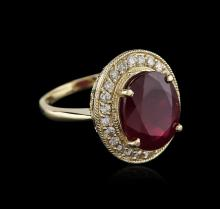 14KT Yellow Gold 8.12ct Ruby and Diamond Ring