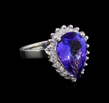 4.74ct Tanzanite and Diamond Ring - 14KT White Gold